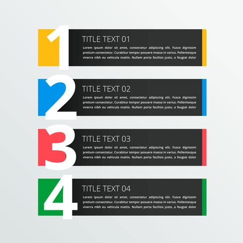 four steps infographic banner in dark theme