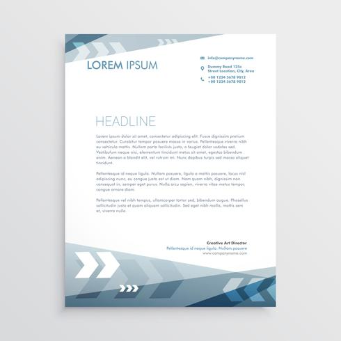 blue letterhead design with geometric lines for your business st
