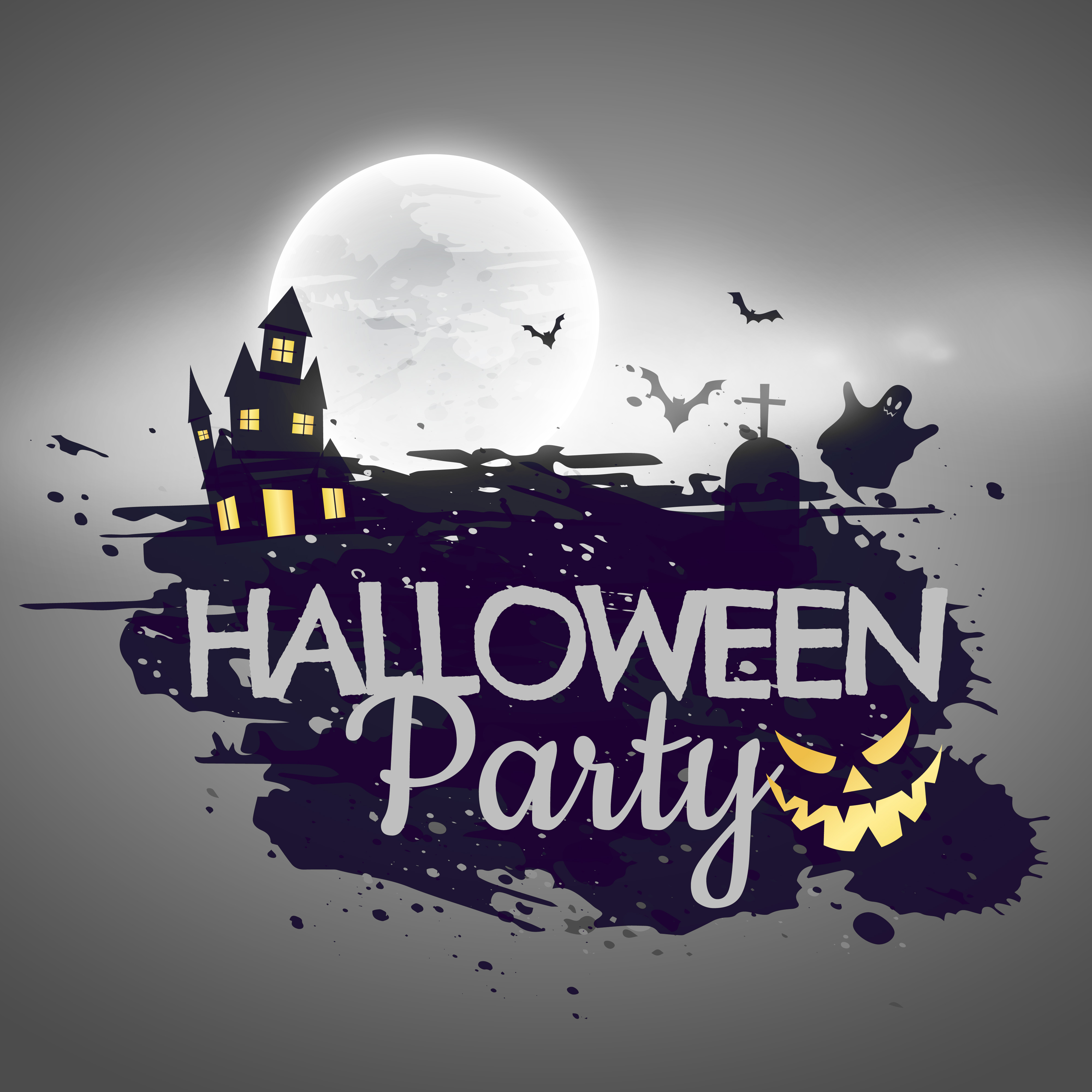 Halloween Party Background With Castle And Moon Download