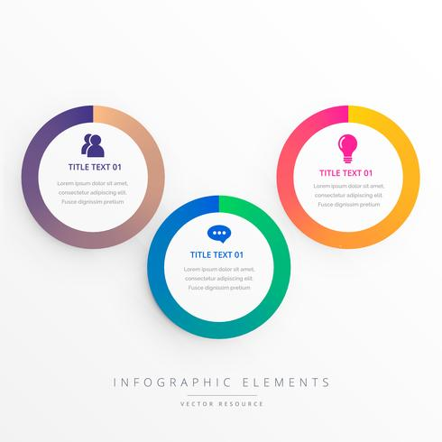 stylish three colorful circles infograph