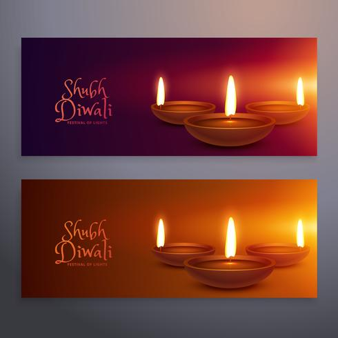 set of two happy diwali horizontal banners with glowing diya
