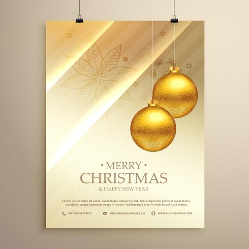 hanging golden christmas balls decoration flyer design template