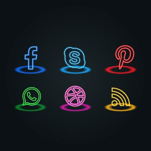 neon style social media icons pack