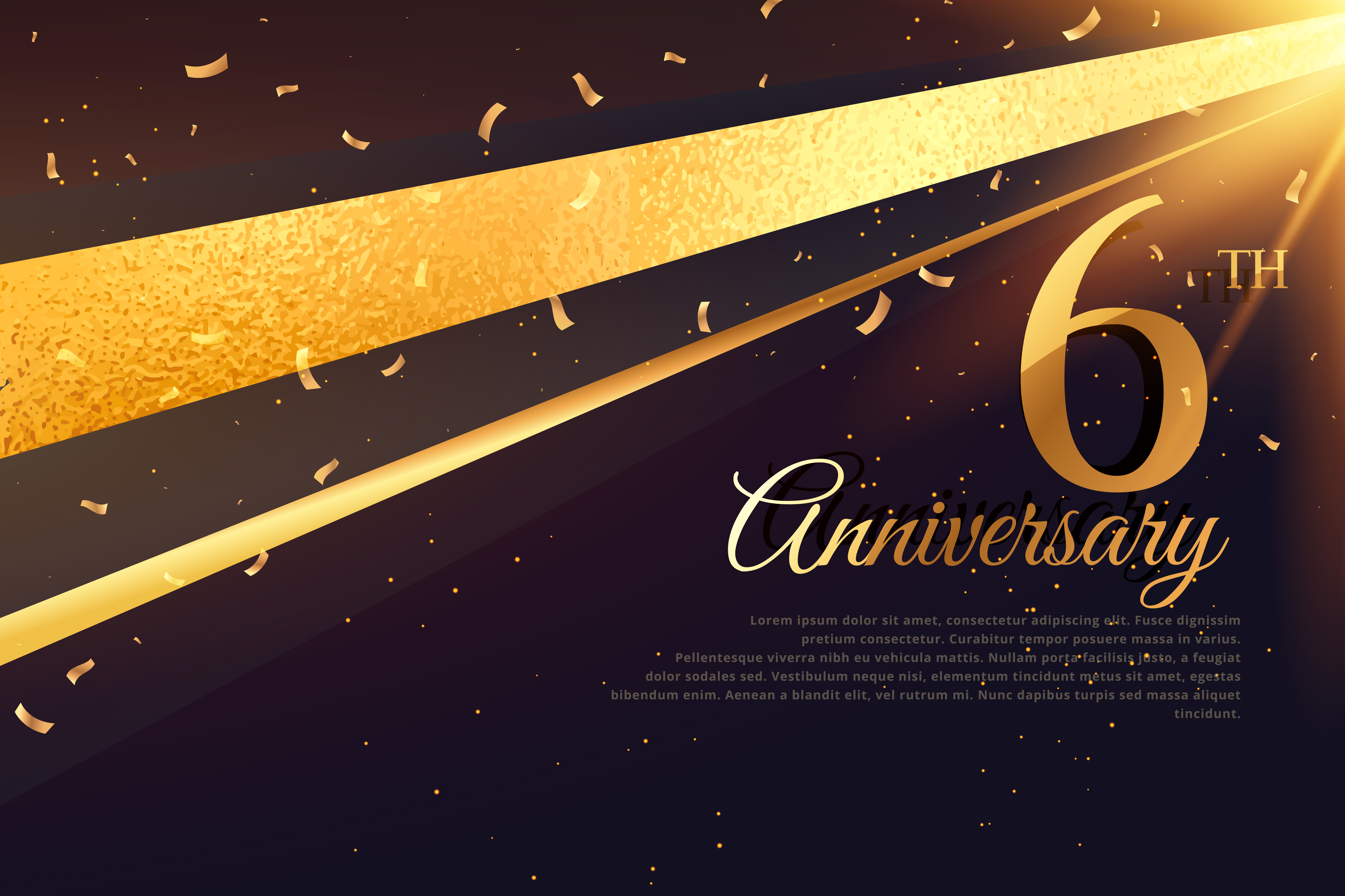 6th Anniversary Celebration Card Template Download Free