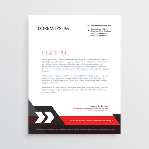 red black letterhead template design