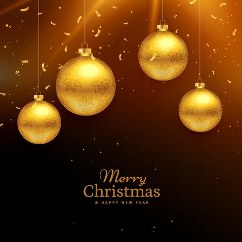 merry christmas celebration background with hanging golden ball