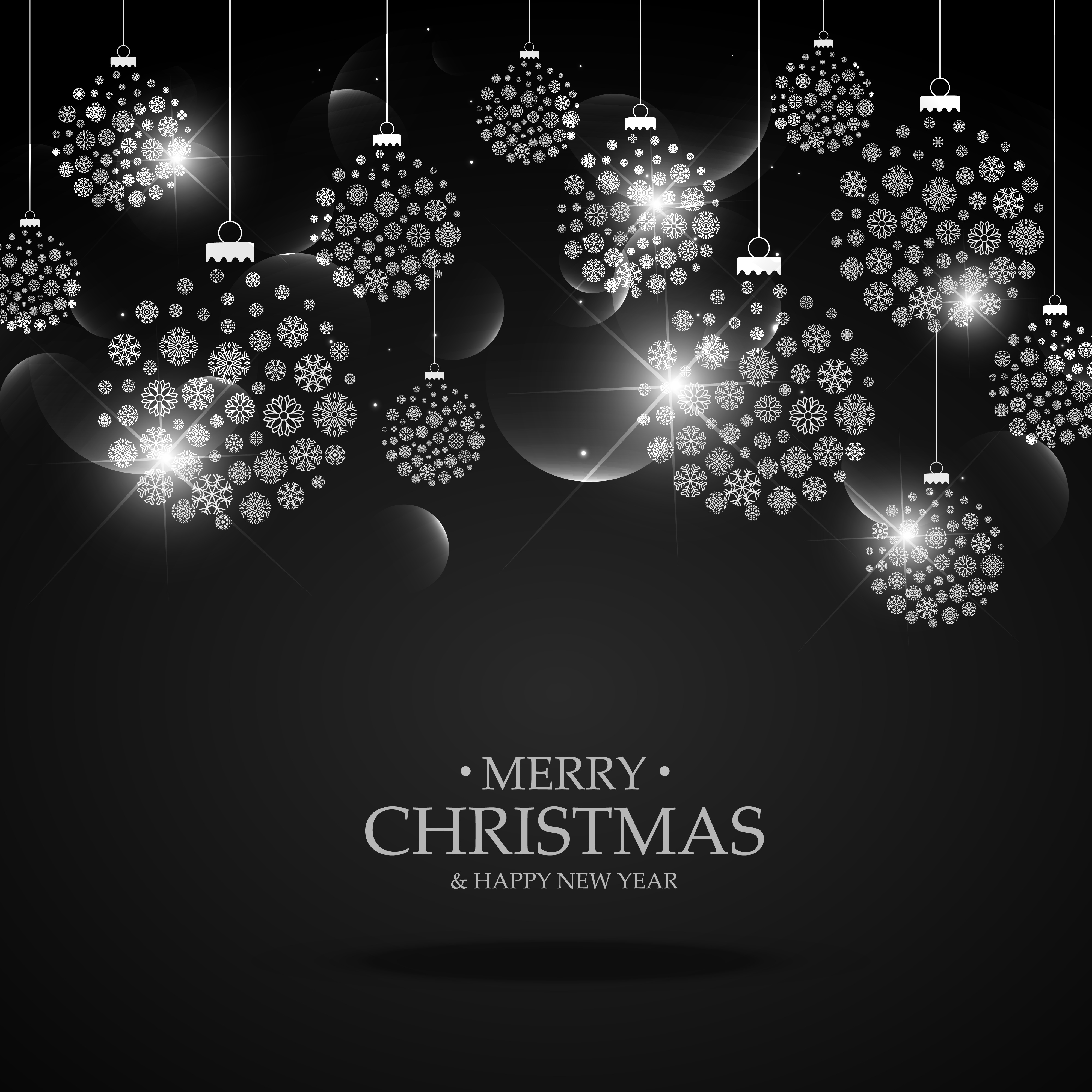 black background with hanging christmas festival balls made with