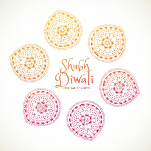 shubh diwali greeting card with paisley design