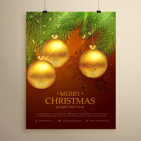 beautiful merry christmas background design flyer template