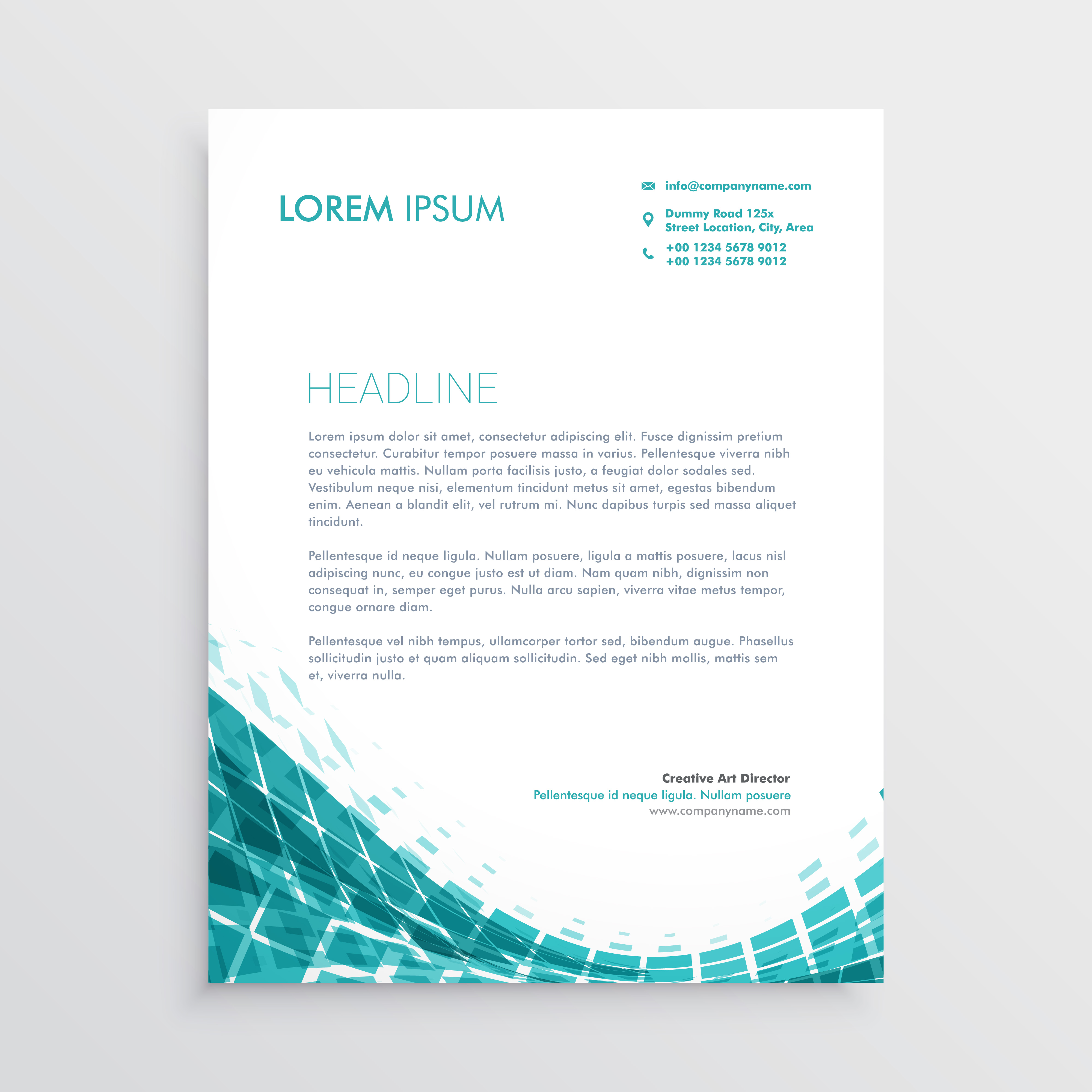 Creative Letterhead Design Template With Abstract Blue