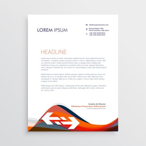 modern letterhead design template with red and blue waves