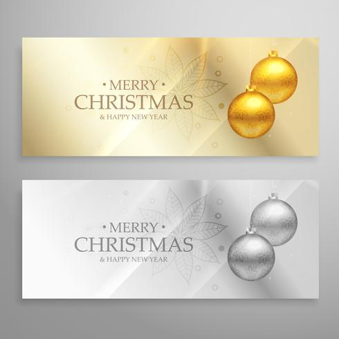 premium set of two christmas banners with golden and silver ball