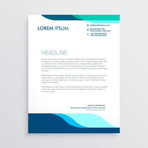 modern letterhead design with clean blue shapes