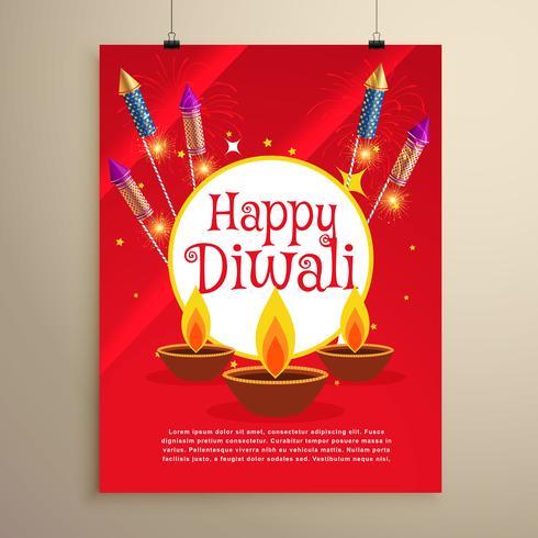 feliz diwali festival cartão convite modelo design