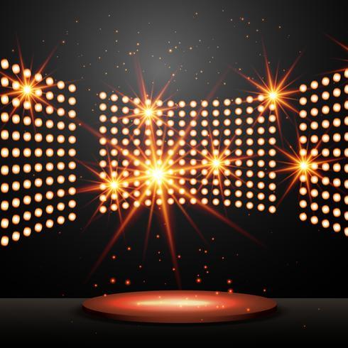 Podium mit Lichtern und leuchtenden Sternen