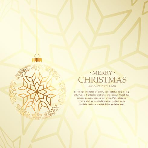 elegant christmas background with hanging golden ball made with