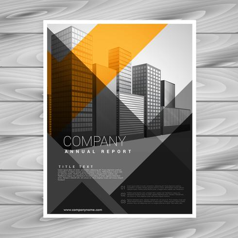 design de brochura de empresa abstrata laranja preto