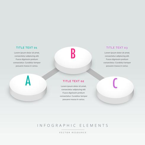 3d style three steps infographic template