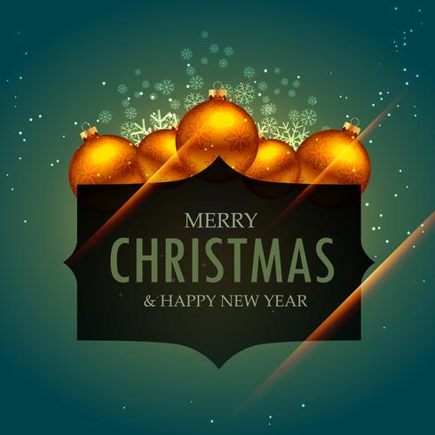 elegant merry christmas greeting design with golden balls and sn