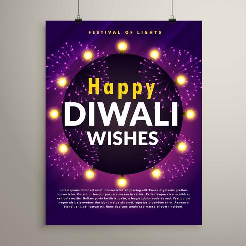 amazing diwali festival flyer design template with fireworks