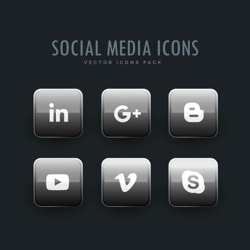 pack d'icônes de réseaux sociaux à l'ombre grise