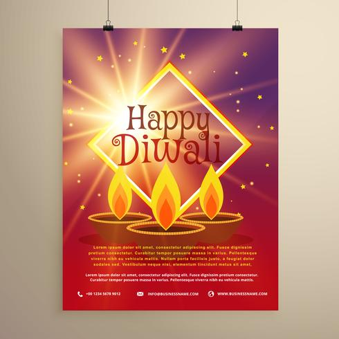 happy diwali flyer template with glowing star and three diyas