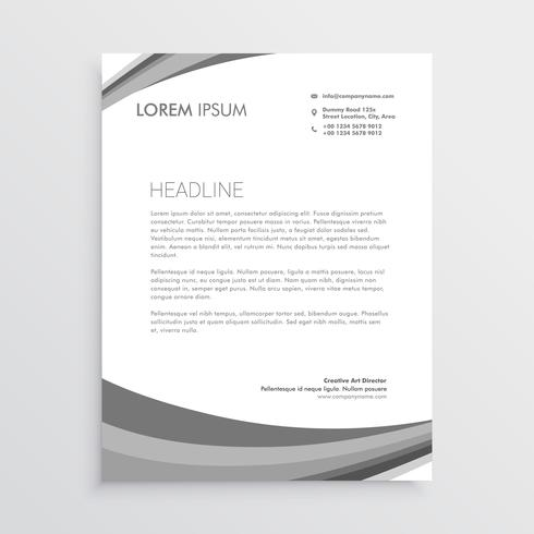 grey wave letterhead design in modern style