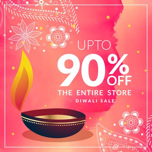 beautiful diwali discount banner template with diya and pink wat