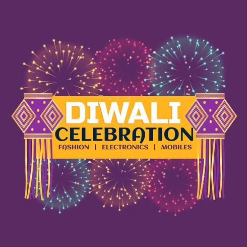 diwali festival fest banner med fyrverkerier och hängande la