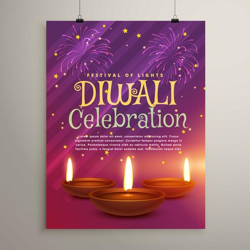 diwali celebration flyer background with three realistic diya