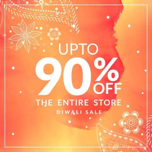diwali sale and discount offer poster with paisley design in ora