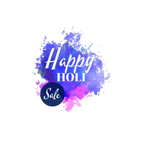 happy holi sale background with watercolor splash