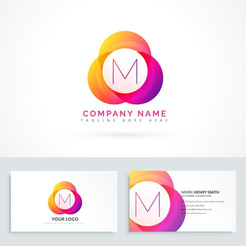 Letter m logo with business card template download vetores e letter m logo with business card template reheart Gallery