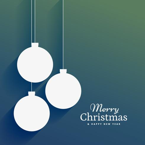 clean christmas background with flat hanging xmas balls