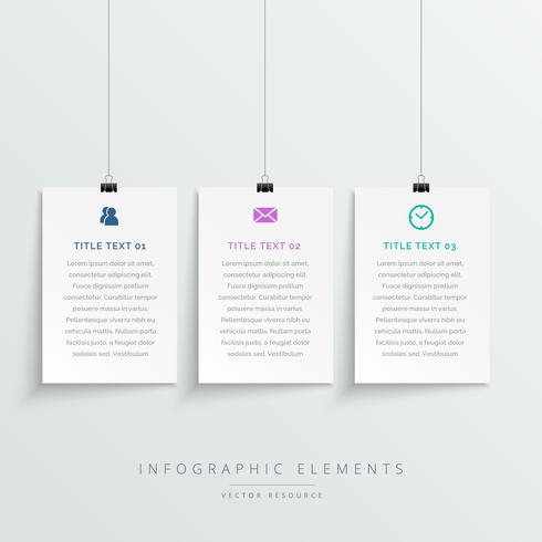amazing hanging white banners infographic template