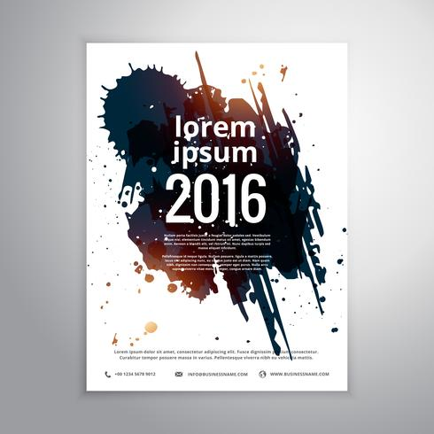 business brochure template with abstract grunge ink splatter