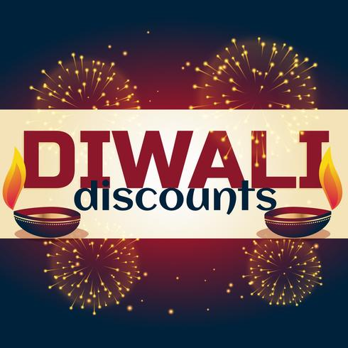 diwali discount background with two diya and fireworks