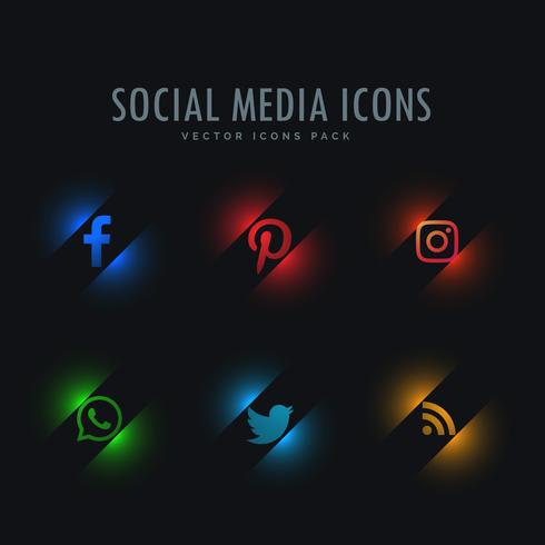 six social media icons in neon style