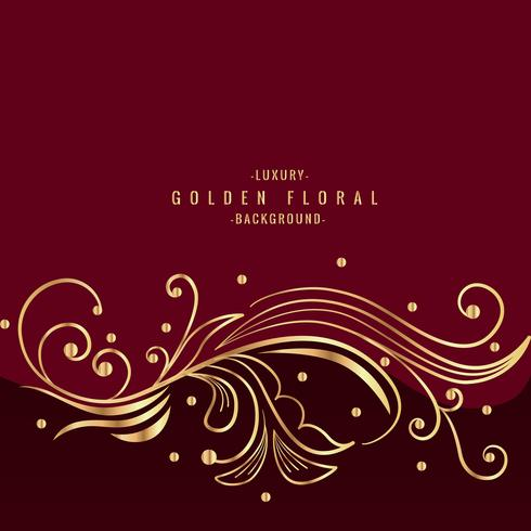 beautiful golden floral design in red background