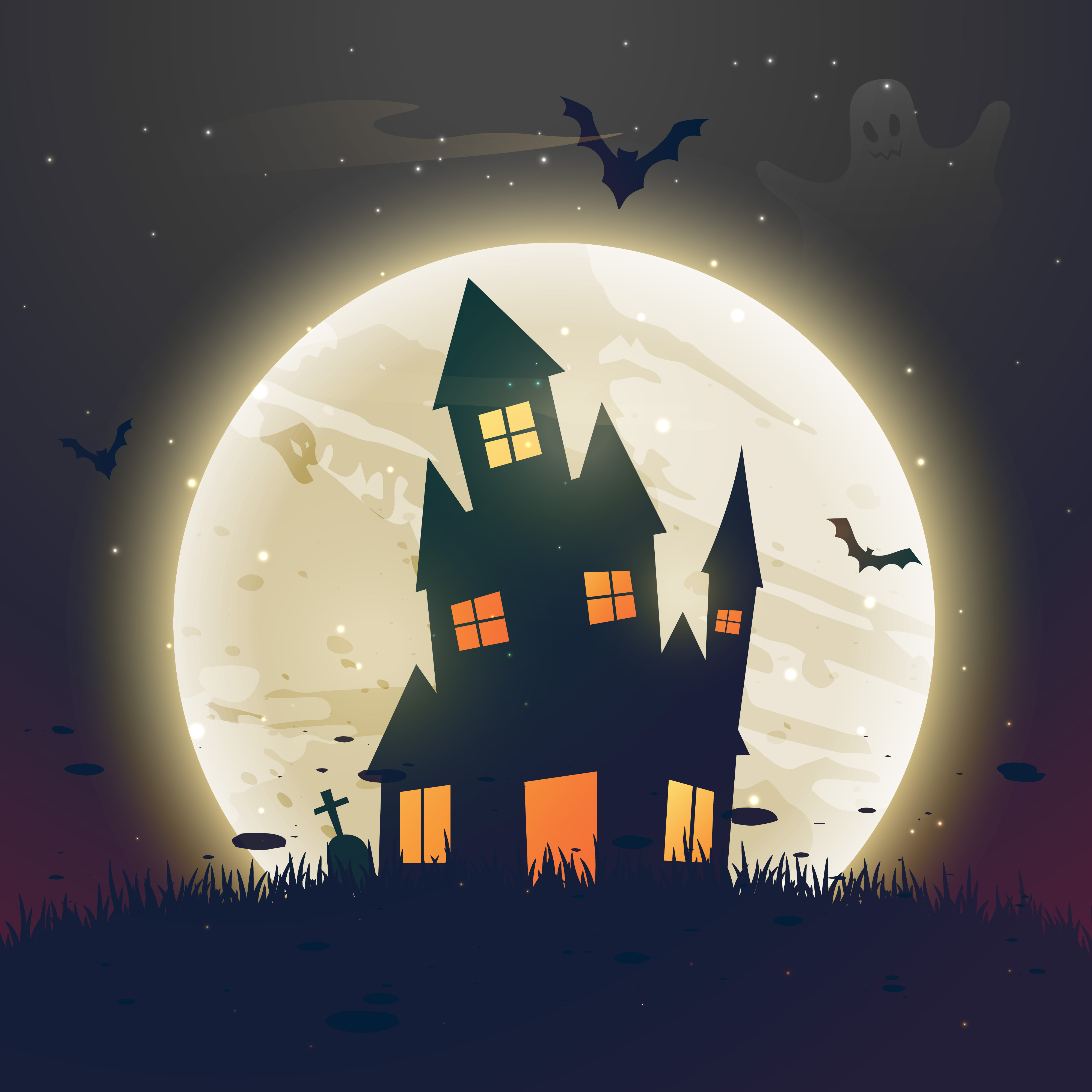 Scary Haunted Halloween House In Front Of Moon Download Free Vector Art Stock Graphics Images