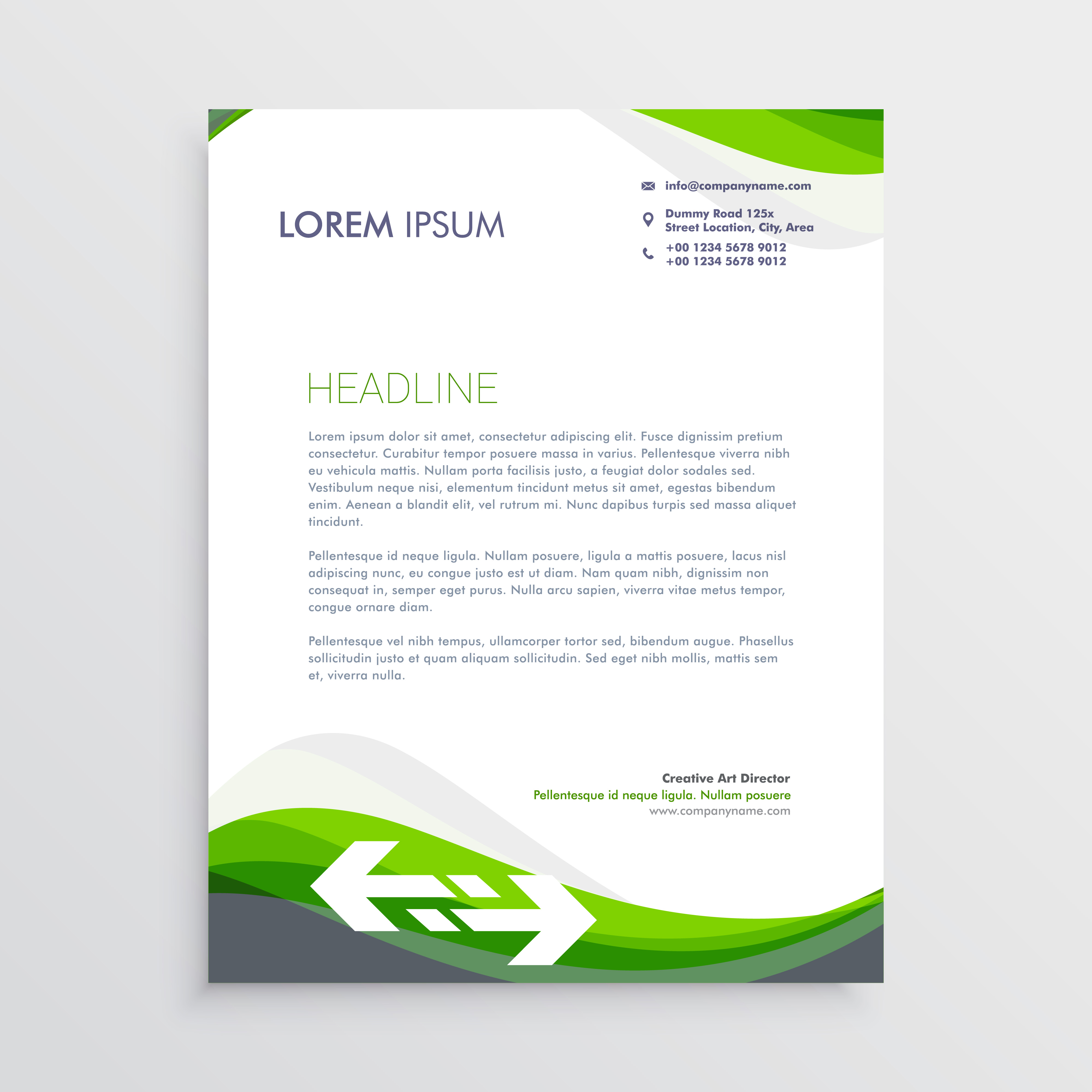Business Cards And Letterheads Google Search: Elegant Green And Gray Letterhead Design Template