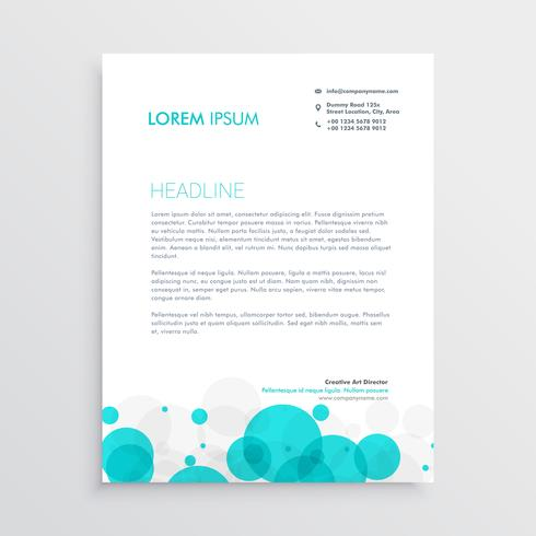 modern blue circles letterhead template design