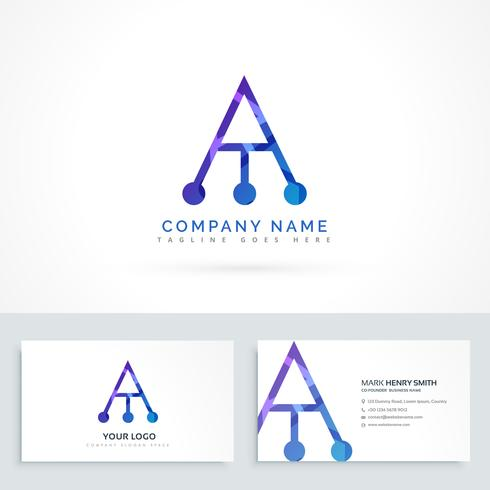 abstract logo letter A with business card