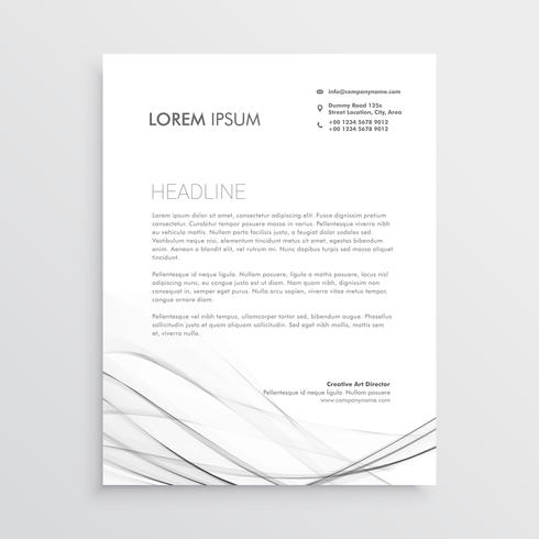 minimal letterhead design with gray wavy shape