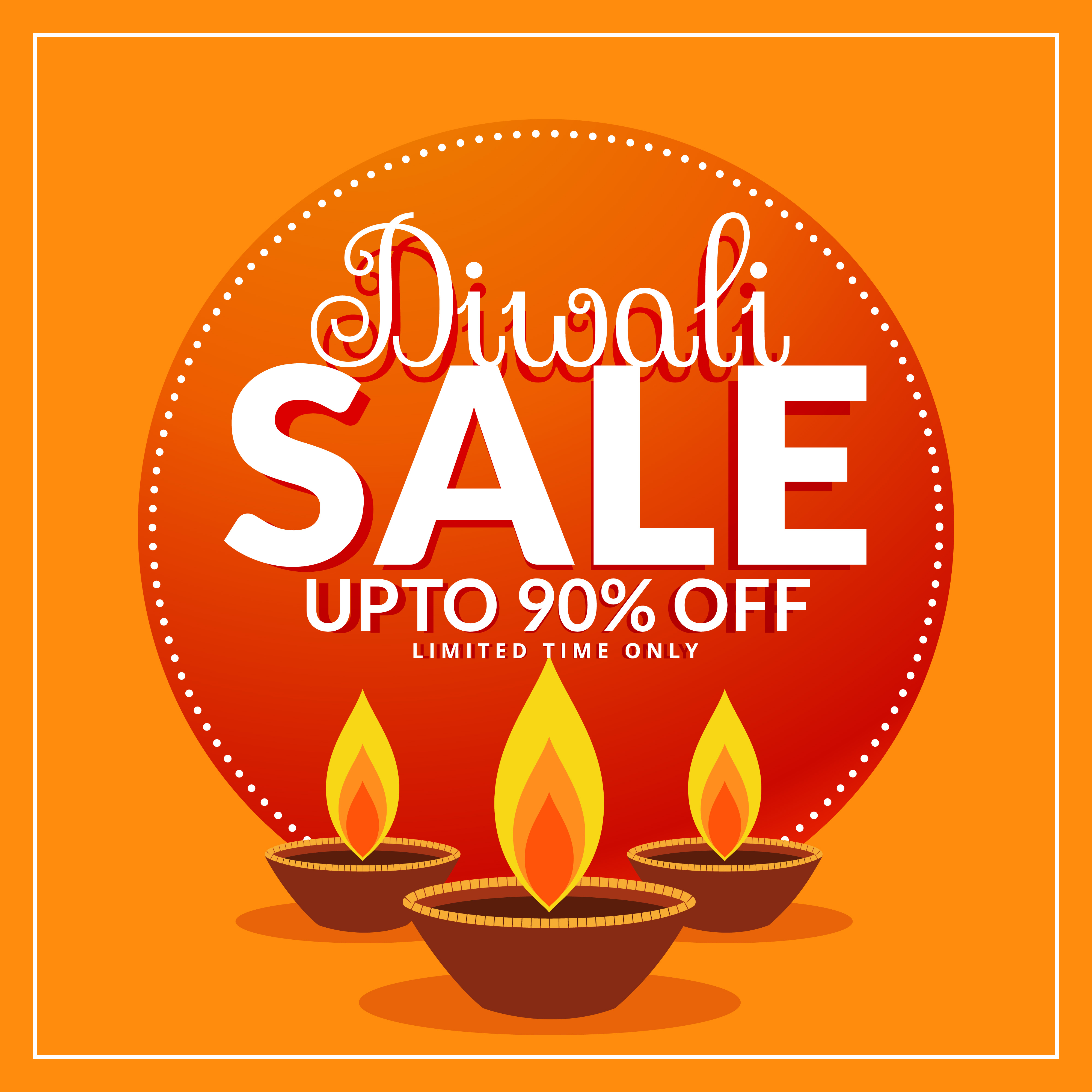 Diwali Festival Discount And Sale Poster Template With