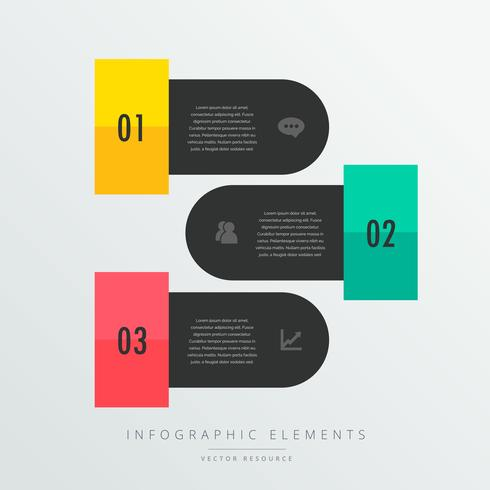three steps infographic elements in black theme