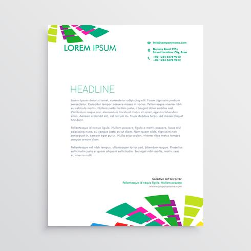 abstract letterhead template with colorful shapes