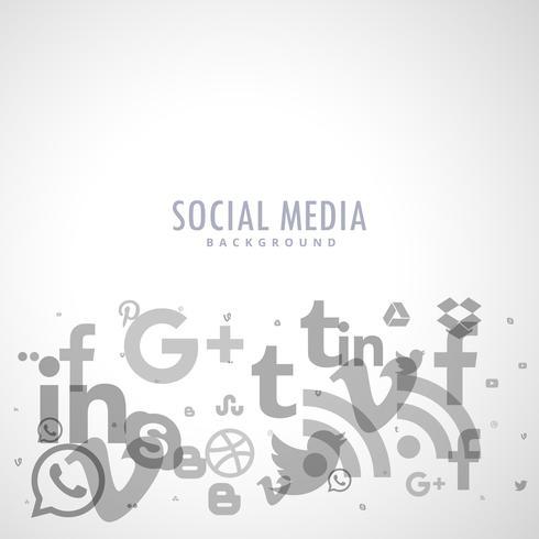 fond de médias sociaux avec des icônes grises