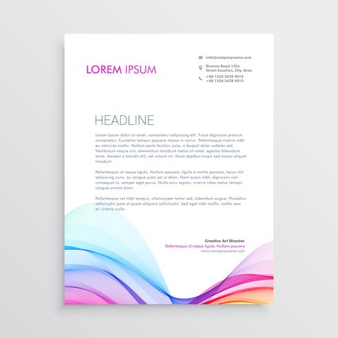 colorful letterhead design template with wavy shape
