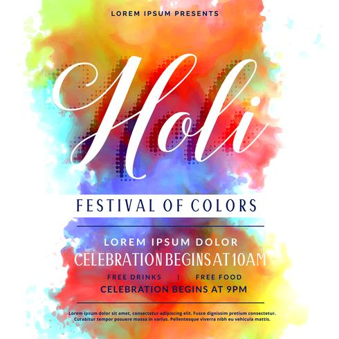happy holi celebration invitation background design